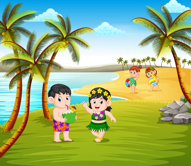 Beautiful summer season in the beach with the children