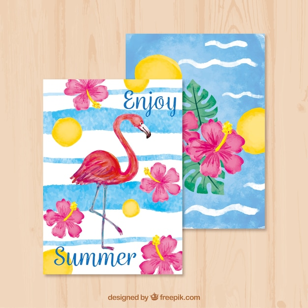 Beautiful summer watercolor cards with flamenco\ and flowers