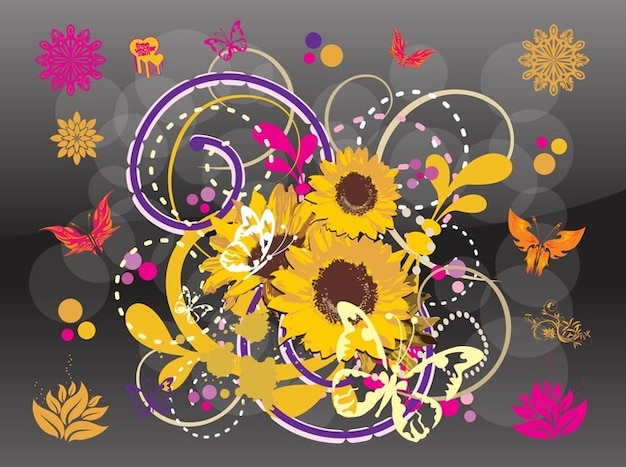 Beautiful sunflower spring illustration