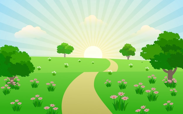 Beautiful sunrise in countryside with footpath Premium Vector