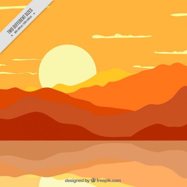 Beautiful sunset in orange tones