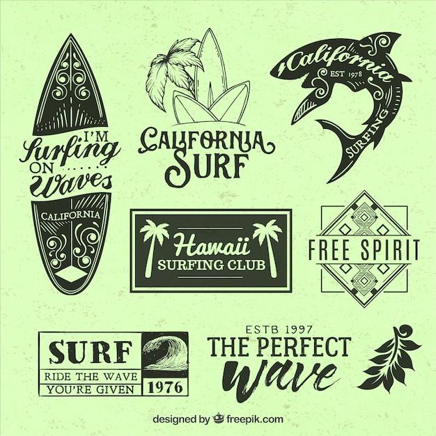 美しいサーフィンをテーマにしたバッジ Premiumベクター