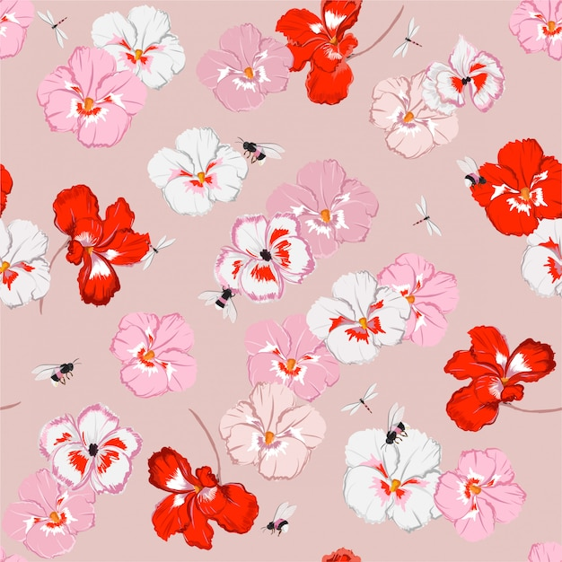 Beautiful sweet pansy flower seamless pattern in vector with dragonfly and bumble bess, design for fashion, fabric, web, wallpaper, and all prints Premium Vector