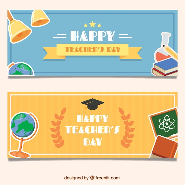 Beautiful teacher day banners with school\ supplies