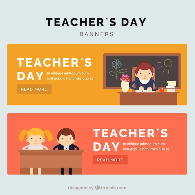 Beautiful teacher\'s day banners in flat\ style