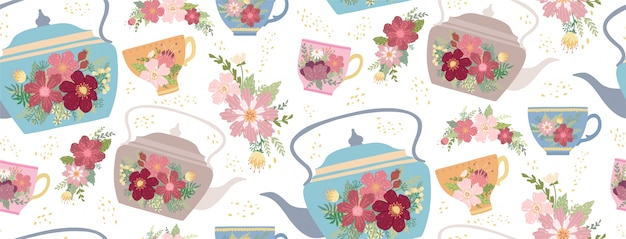 Beautiful teacup and teapot with flower and leaves isolated on white Premium Vector