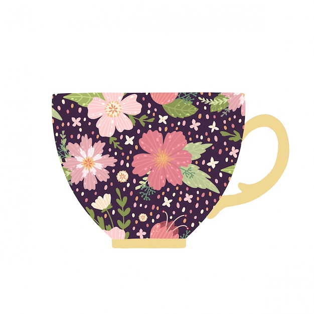 Beautiful teacup with flower and leaves isolated on white background. Premium Vector