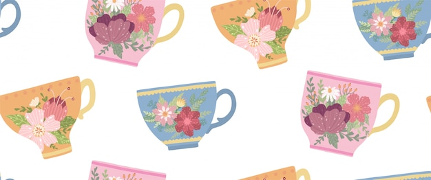 Beautiful teacup with flower and leaves seamless pattern. elegant vector mug. Premium Vector