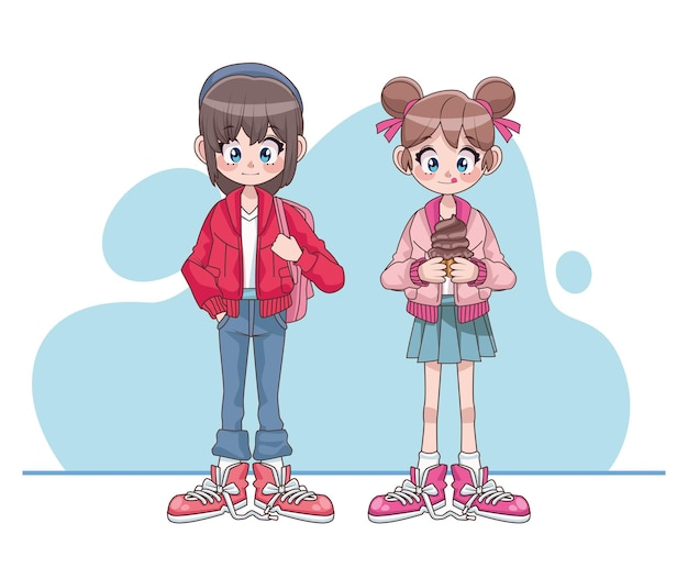 Beautiful teenagers girls couple anime characters  illustration Premium Vector