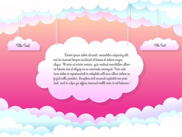 Beautiful template with hanging clouds illustration Premium Vector