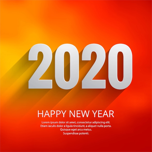Beautiful text 2020 new year festival greeting card template Free Vector