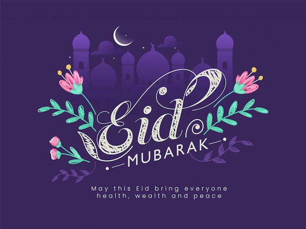 Beautiful text eid mubarak decorated with flowers, mosque silhouette, crescent moon Premium Vector