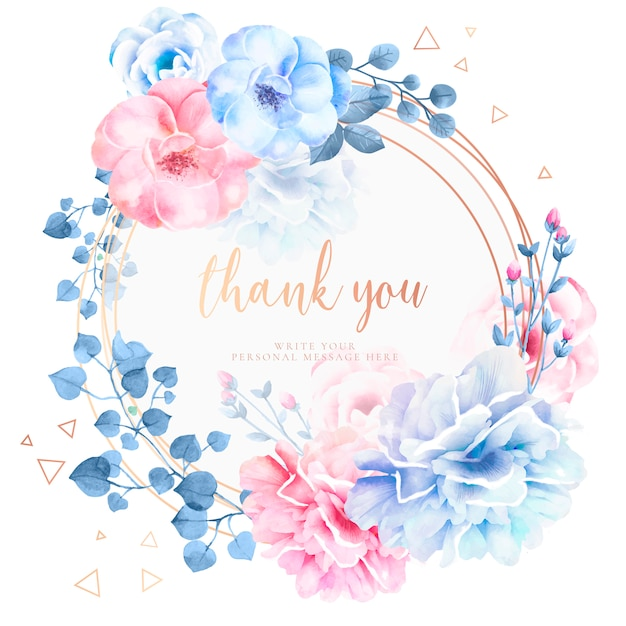Beautiful thank you card with watercolor flowers Free Vector