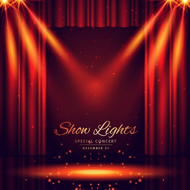 Beautiful Theater Stage With Lights Focus Vector Free