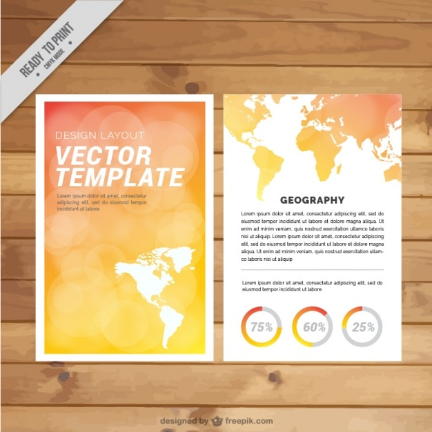 Beautiful travel agency brochure with map Free Vector