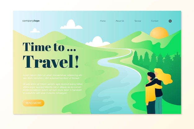 Beautiful travel landing page Free Vector