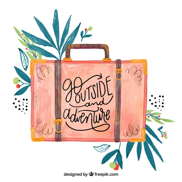 Beautiful travel quote with watercolor illustration Free Vector