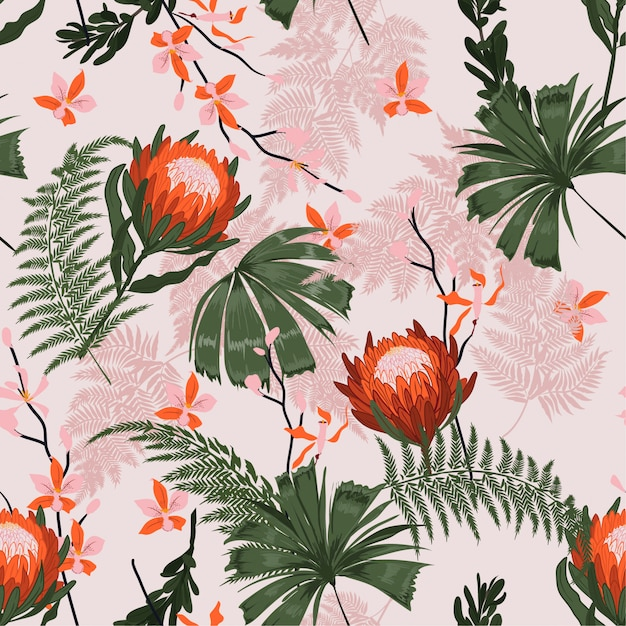 Beautiful trendy protea floral pattern in the many kind of flowers Premium Vector