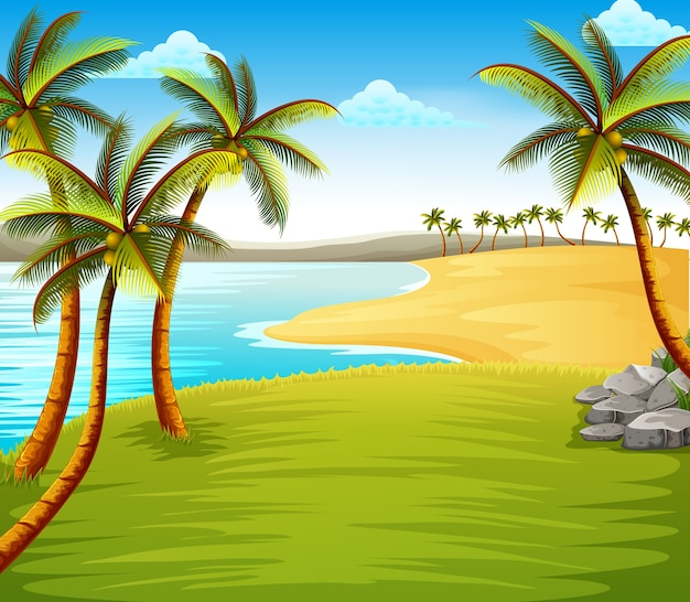 Beautiful tropical beach view with some coconut trees on the coast near the green field Premium Vector