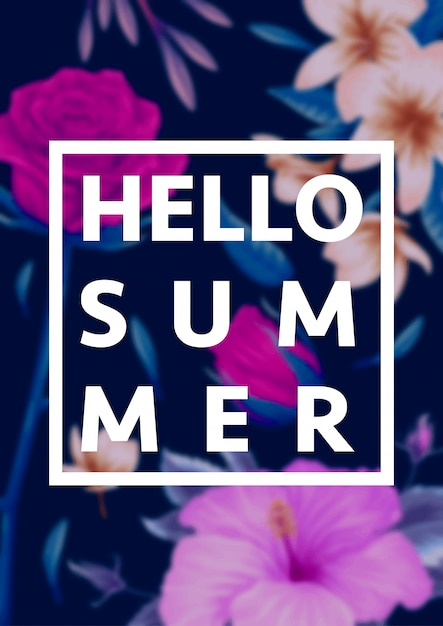 Beautiful tropical flowers with lettering on blur background. summer concept illustration Premium Vector