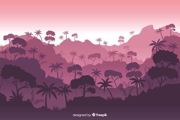 Красивый пейзаж тропического леса с разнообразием деревьев Бесплатные векторы