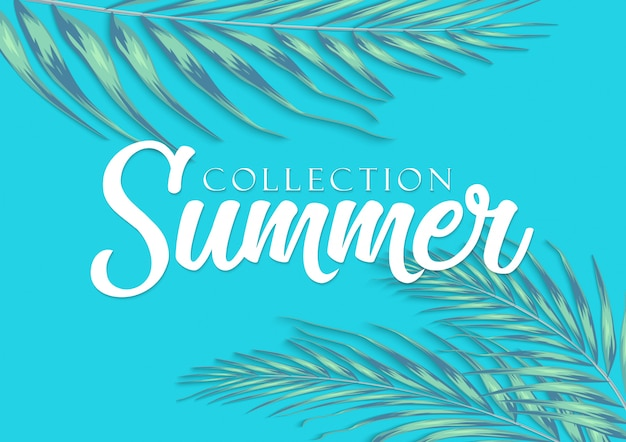 Beautiful tropical leaves with lettering on blur background. summer concept illustration Premium Vector