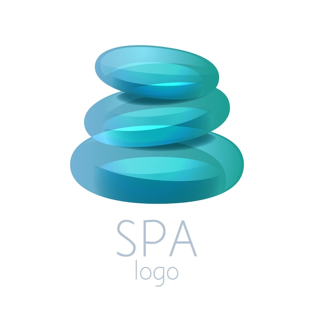 美しいターコイズブルーのスパ石スタックロゴサイン。スパ、ヨガセンター、ウェルネス、ビューティーサロン、薬に適しています。 Premiumベクター