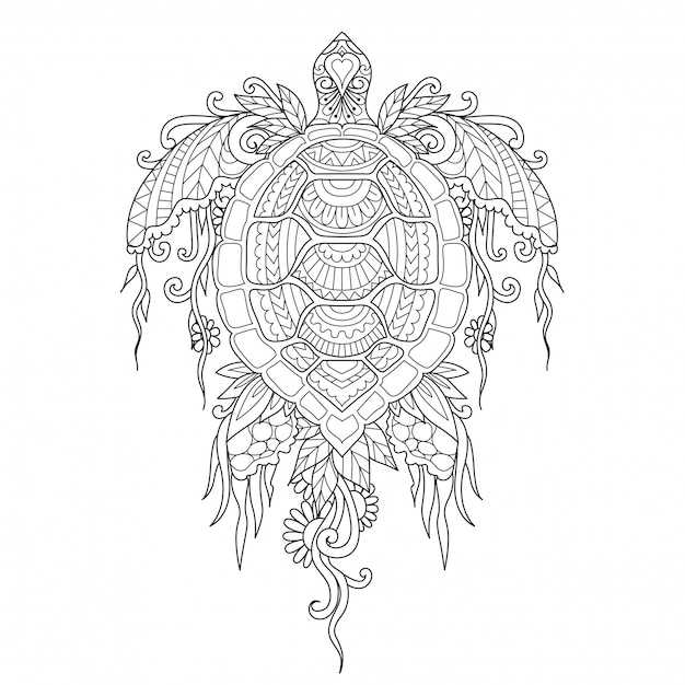 Beautiful turtle line art for Premium Vector