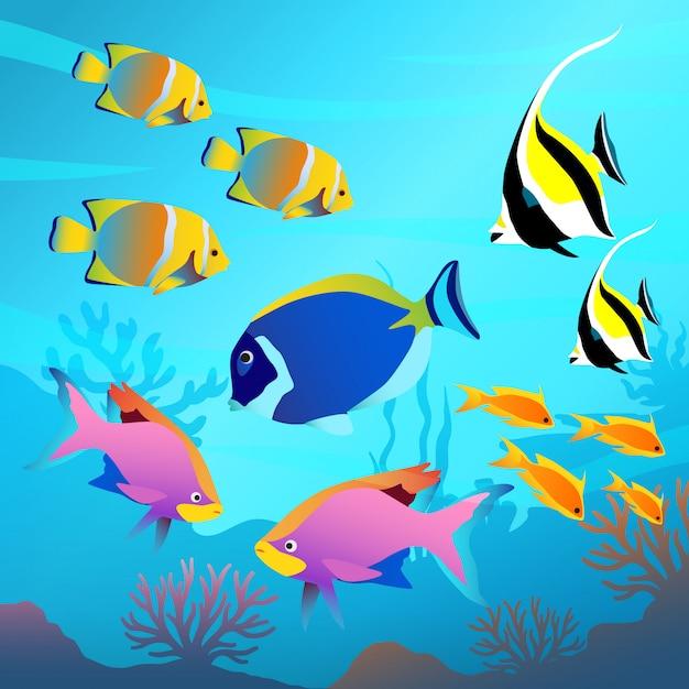 Красивый подводный мир, морской пейзаж, рыба и морское дно Premium векторы