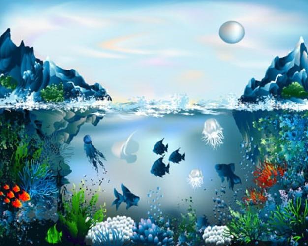 Beautiful underwater world Free Vector