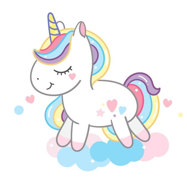 Beautiful unicorn on pastel could Premium Vector