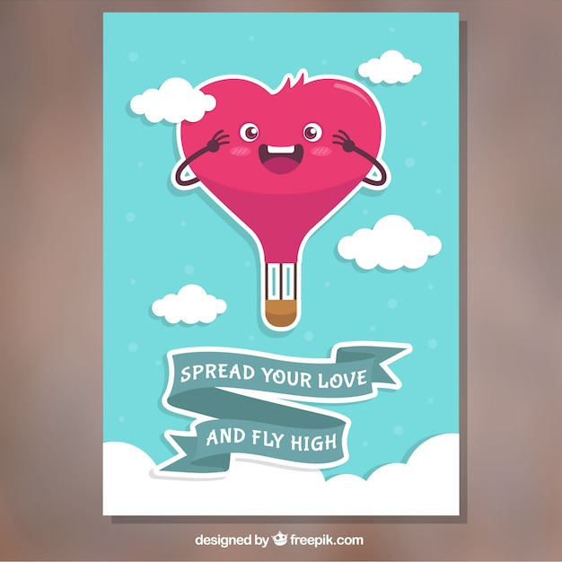 Beautiful valentine card with hot air balloon heartshaped Vector – Heart Shaped Valentine Cards