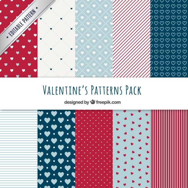 Beautiful valentine day patterns Free Vector