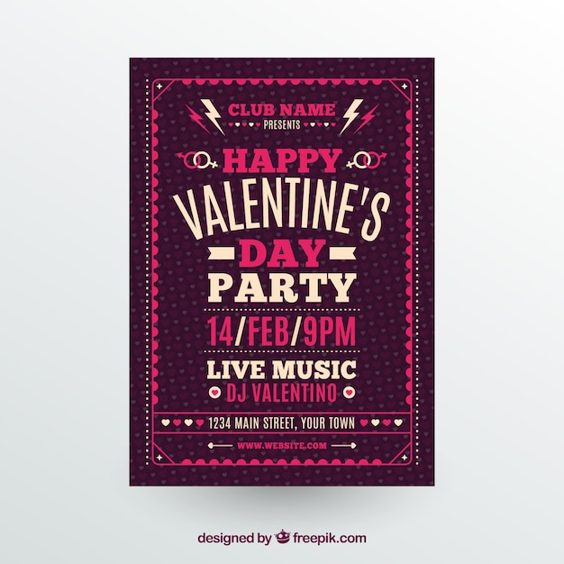 Beautiful Valentine Flyer Template Vector Free Download