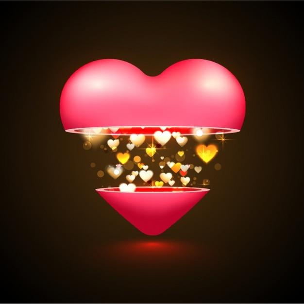 Beautiful valentine's background with golden hearts Premium Vector