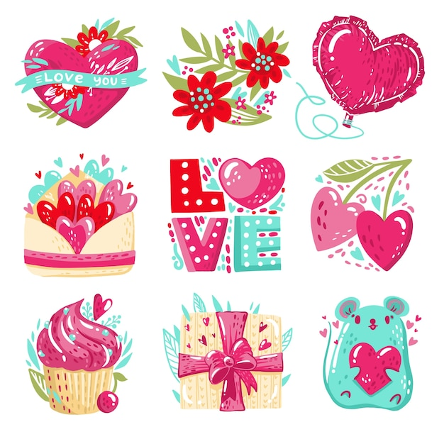 Beautiful valentine's day badge Free Vector