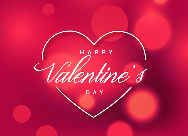 Free Vector Beautiful Valentine S Day Greeting Background With Bokeh Effect