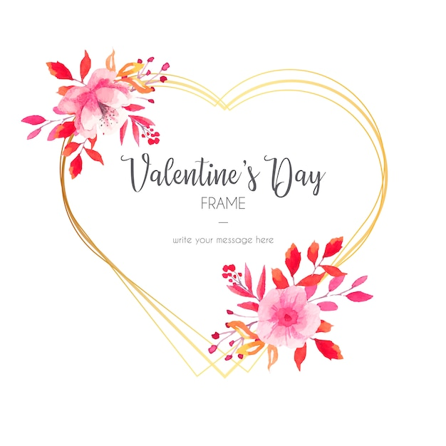 Beautiful valentine's day invitation with golden frame Free Vector
