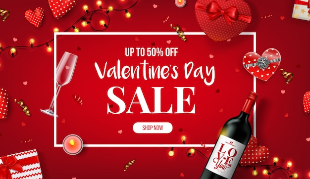 Beautiful valentine's day sale banner. Premium Vector