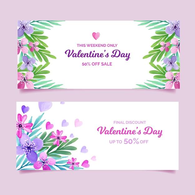 Красивые баннеры продажи дня святого валентина Бесплатные векторы