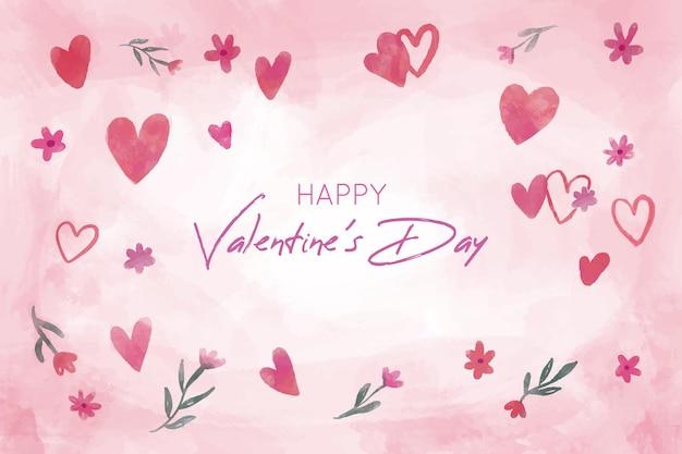 손으로 그린 하트와 함께 아름 다운 발렌타인 배경 무료 벡터