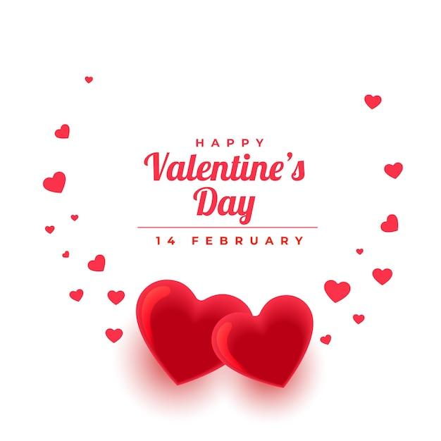 愛の心と美しいバレンタインデーの挨拶 無料ベクター