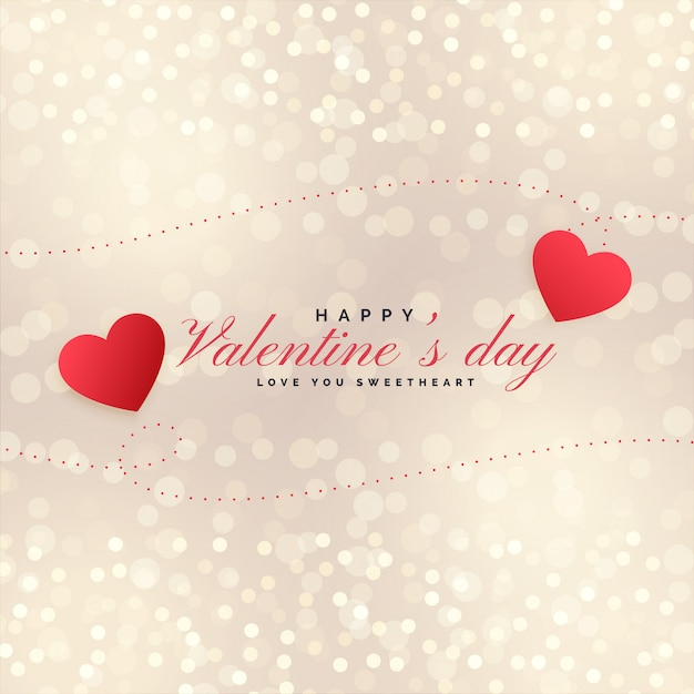 Beautiful valentines day hearts on bokeh background Free Vector