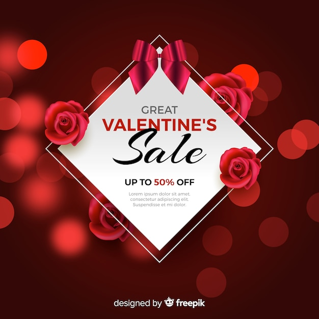 Beautiful valentines day sale background Free Vector