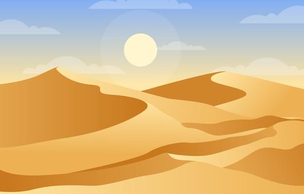 Beautiful vast desert hill mountain arabian horizon landscape illustration Premium Vector
