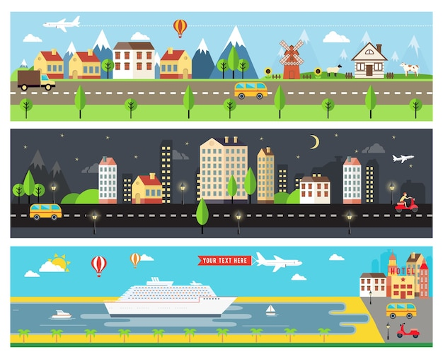 Beautiful vector cartooninzed city landscape Free Vector