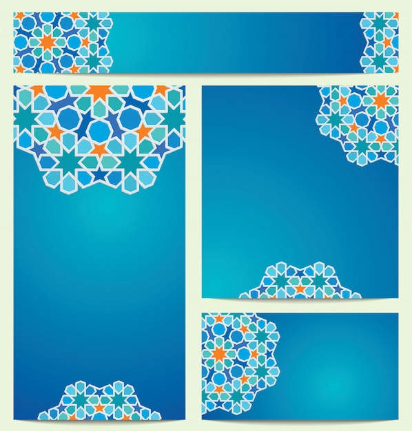 Beautiful vector colorful circle arabic geometric pattern ornament for greeting business card Premium Vector