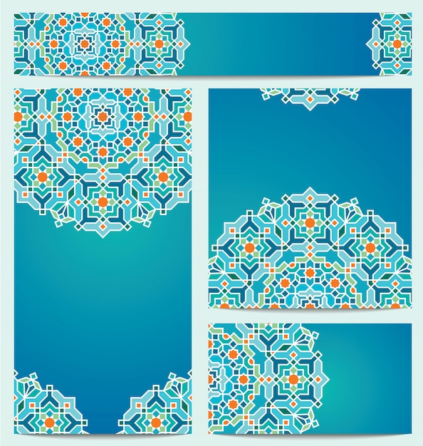 Beautiful vector geometric arabic background ornament for greeting business card Premium Vector