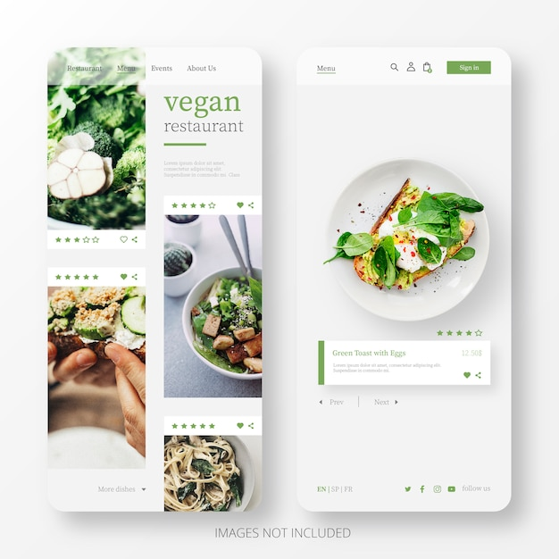 Beautiful vegan restaurant landing page template for mobile Free Vector