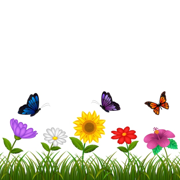 Beautiful view with the different flower and some butterfly Premium Vector